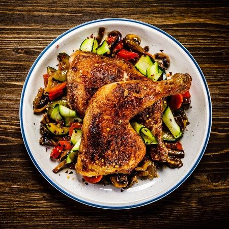 Image of Hickory Grilled 1/2 Roast Chicken with a Smoky Ratatouille